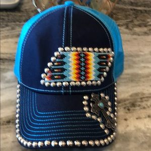 Navy and blue hat with studs
